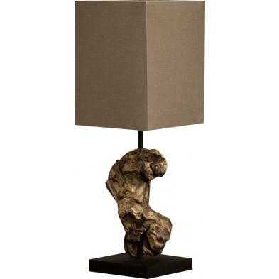 Petite Lampe à poser brun design bois flotté L. 15 x P. 15 x H. 45 cm collection Schmiechen