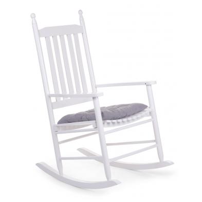 Chaise à bascule pour adulte moderne blanc en bois massif hêtre L. 59 x P. 83 x H. 110 cm Collection Warquignies