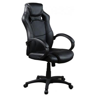 Chaise de bureau en pvc noir L. 60 x P. 55 x H. 122 collection Coupart