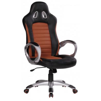 Chaise et fauteuil de bureau marron design en pvc L. 56 x P. 62 x H. 122 - 130 cm collection Vansplunter