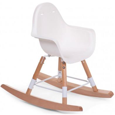 Chaise à bascule enfant en bois coloris blanc et bois L. 70 x P. 55,2 x H. 97 cm collection Broeke