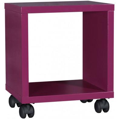 Chevet enfant rose design en panneaux de particules en finitions laquées L. 36 x P. 31 x H. 40 cm collection Nilay