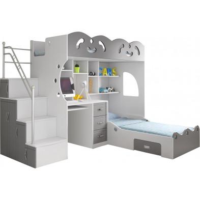 Lit combiné blanc et gris design en bois mdf  255 x 205 x 190 cm collection COCO