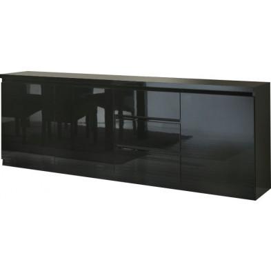 Buffet - bahut - enfilade noir design en panneaux de particules de haute qualité L. 220 x P. 50 x H. 83 cm collection Jorna
