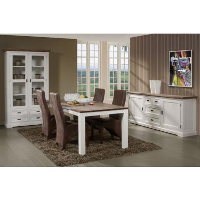 Salle à manger complète contemporaine blanc en bois massif acacia et MDF Collection Invite