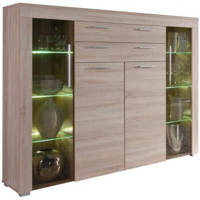 Buffet haut à 4 portes (2 vitrées avec éclairage LED) et 2 tiroirs coloris chêne clair L. 160 x P. 40 x H. 137 cm collection Vanzuijlen