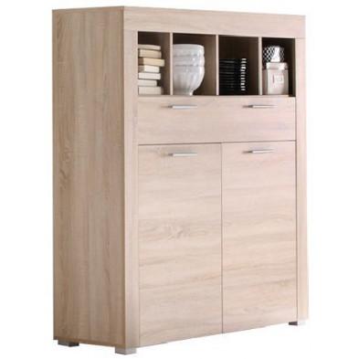Meuble bar à 2 portes + 4 compartiments et 1 tiroir coloris chêne clair L. 120 x P. 40 x H. 137 cm collection Vanzuijlen