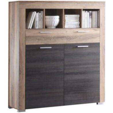 Buffet à 2 portes + 4 compartiments et 1 tiroir coloris chêne noyer et brun foncé  L. 120 x P. 40 x H. 137 cm collection Vanzuijlen
