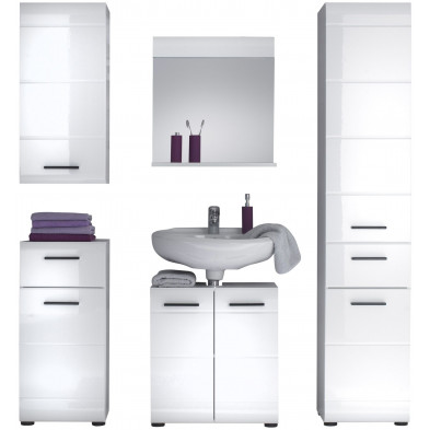 Meubles salle de bain 5 pièces coloris blanc L. 170 x P. 31 x H. 182 cm collection Zwalm