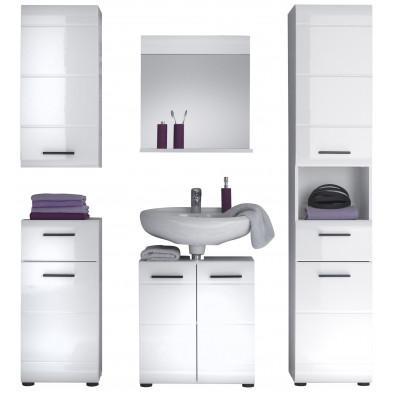 Meubles de salle de bain 5 pièces coloris blanc L. 170 x P. 31 x H. 182 cm collection Zwalm