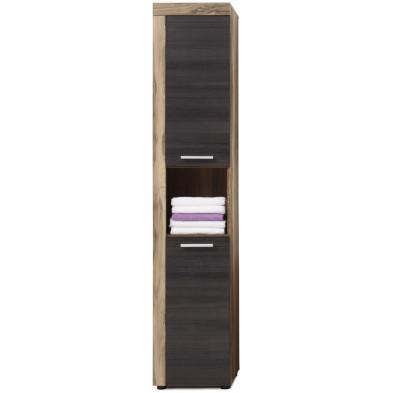 Colonne de rangement pour salle de bain design coloris brun foncé et imitation Noyer L. 36 x P. 31 x H. 184 cm collection Rohrdorf