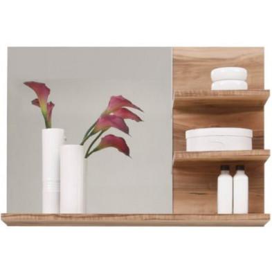 Miroir de salle de bain avec 3 tablettes coloris Noyer satiné L. 72 x P. 20 x H. 57 cm collection Rohrdorf