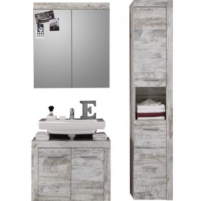 Meubles de salle de bains 3 pièces coloris pin canyon blanc L. 123 x P. 34 x H. 184 cm collection Rohrdorf
