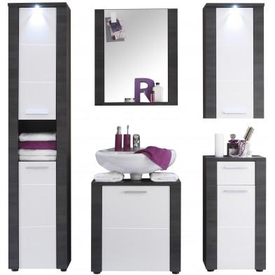 Meubles de salle de bain Design 5 pièces coloris blanc et frêne gris en Panneau de particules agglomérées L. 181 x P. 35 x H. 184 cm collection Brawny