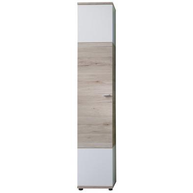 Colonne de rangement pour salle de bain design coloris Chêne de San Remo et blanc  L. 36 x P. 31 x H. 189 cm collection  L. 36 x P. 31 x H. 189 cm