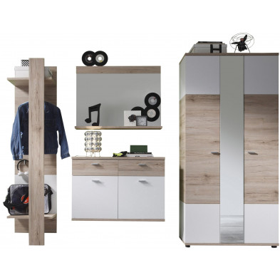 Vestiaire avec armoire 2 portes, miroir, porte-manteau mural et meuble à chaussures coloris chêne de San Remo et blanc L. 245 x P. 38 x H. 190 cm collection Quain