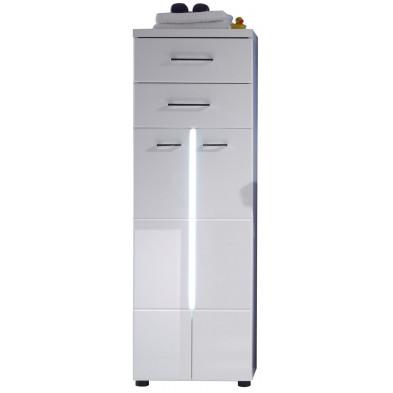 Armoire de rangement pour salle de bain 2 portes et 2 tiroirs coloris blanc  L. 43 x P. 31 x H. 185 cm collection Klaaswaal