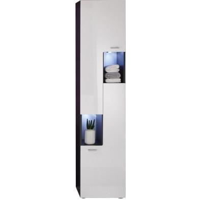 Colonne de rangement gauche 2 portes et 2 niches ouvertes coloris gris anthracite et blanc brillant L. 40 x P. 30 x H. 182 cm collection Bracke
