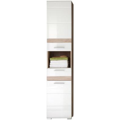 Colonne de rangement pour salle de bain design coloris blanc et chêne San Remo L. 37 x P. 31 x H. 182 cm collection Weitramsdorf