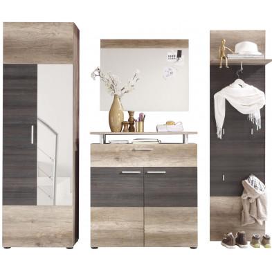 Vestiaire avec armoire 2 portes , meuble à chaussure , miroir et meuble vestiaire coloris chêne clair et foncé L. 230 x P. 37 x H. 191 cm collection Famous