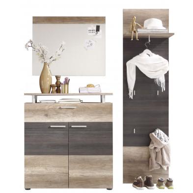 Vestiaire avec meuble à chaussure , miroir et meuble vestiaire coloris chêne clair et foncé  L. 230 x P. 37 x H. 191 cm collection Famous