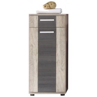 Armoire de rangement pour salle de bain 1 porte et 1 tiroir coloris chêne foncé L. 40 x P. 32 x H. 90 cm collection Galdakao