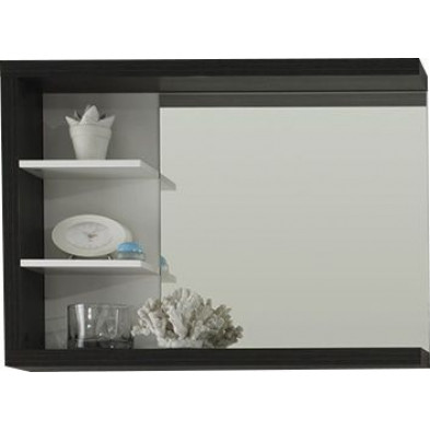 Miroir de salle de bain avec 1 tablette et 2 étagères  coloris argent fumé et blanc L. 90 x P. 16 x H. 66 cm collection Gaualgesheim