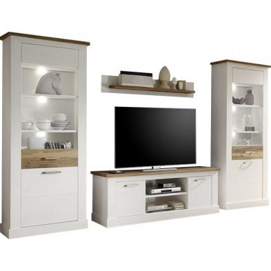 Ensemble meuble TV avec 1 banc TV , 2 vitrines et 1 étagère coloris blanc et noyer satiné  L. 340 x P. 52 x H. 210 cm collection Coulthard