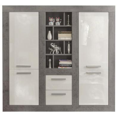 Vaisselier 4 portes , 2 tiroirs et 8 compartiments ouverts coloris blanc et gris béton L. 170 x P. 41 x H. 165 cm collection Jaromir