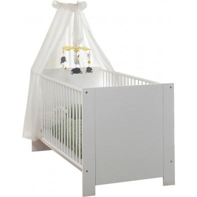 Lit bébé à barreaux 70 x 140 cm en panneaux de particules coloris blanc collection Johann
