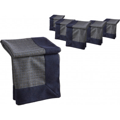 Lot de 6 plaids design bleu et beige en tissu (66% laine, 22% polyester, 8% nylon et 4% acrylique) L. 180 x P. 130 x H. 0.3 cm Collection Camporeal