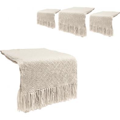 Lot de 4 plaids design blanc cassé en tissu (20% laine, 57% acrylique et 23% polyester) Collection Christy