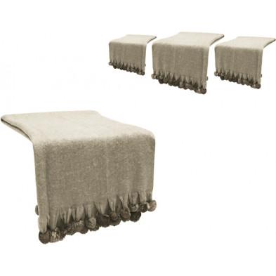 Lot de 4 plaids design beige en tissu (20% laine, 57% acrylique et 23% polyester) L. 200 x P. 130 cm Collection Christy