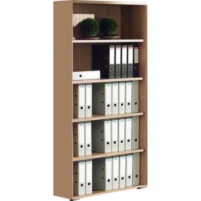 Meuble étagère marron contemporain en panneaux de particules mélaminés de haute qualité L. 90 x P. 42 x H. 219,6 cm collection Uersfeld