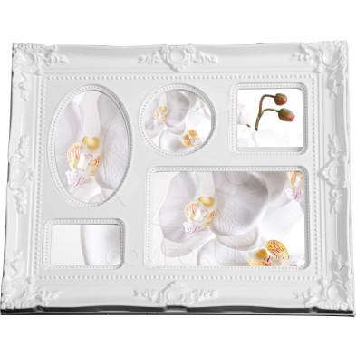 Cadre photo baroque L. 33 x P. 3 x H. 26 cm blanc 5en1 collection Harink