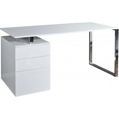 Bureau blanc laqué L. 160 x H. 80 cm Design avec tiroirs collection Domicella