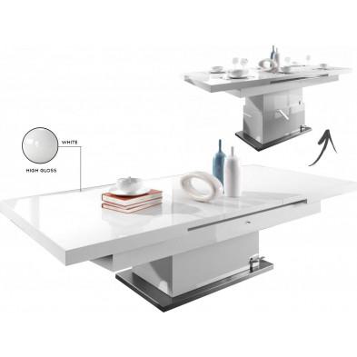 Table basse design blanc L. 138/175 x P. 80 x H. 50/78 cm collection Mignonette