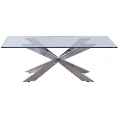 Table basse en verre argenté design en acier inoxydable poli L. 130 x P. 70 x H. 45 cm collection Urvin