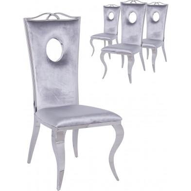 Lot de 4 chaises de salle à manger moderne Argenté Baroque en Acier inoxydable poli L. 50 x P. 48 x H. 110 cm collection Frabinetto