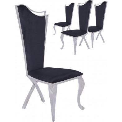 Lot de 4  chaises de salle à manger moderne Argenté Baroque en Acier inoxydable poli L. 54 x P. 49 x H. 117 cm collection Kamminga