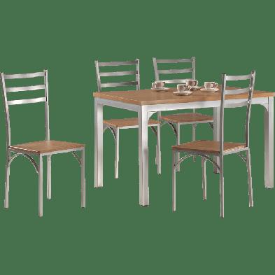 Ensembles tables & chaises en acier et bois  marron classique en collection Northlew