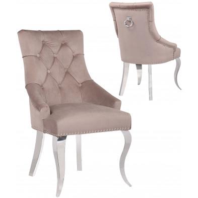 Lot de 2 Chaises de salle à manger design capitonné revêtement en velours taupe et piètement baroque en acier inoxydable argenté collection ANGELO