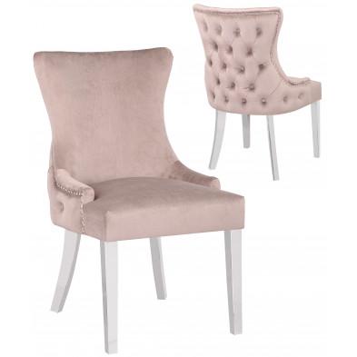 Lot de 2 Chaises de salle à manger design avec capitonnage à l'arriere revêtement en velours taupe et piètement en acier inoxydable argenté collection LEO