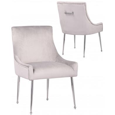 Lot de 2 Chaises de salle à manger design revêtement en velours gris clair avec poignet à l'arriere et piètement en acier argenté collection JERSEY