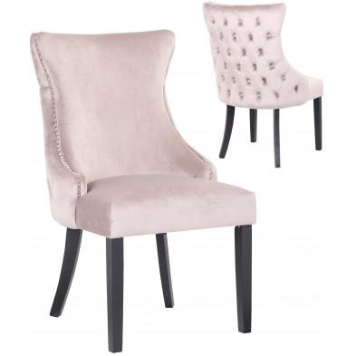 Lot de 2 Chaises de salle à manger contemporain avec capitonnage à l'arriere en velour taupe et piètement en bois massif noir collection BOSTON