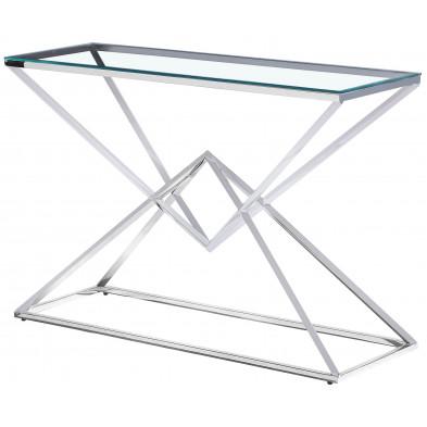 Console design piètement en acier inoxydable poli argenté et plateau en verre trempé transparent L. 120 x P. 40 x H. 78 cm collection PARMA