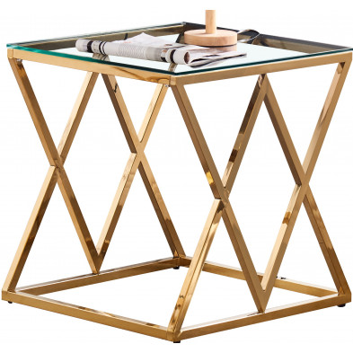 Table d'appoint design en acier inoxydable poli doré et plateau en verre trempé transparent  L. 55 x P. 55 x H. 55 cm collection ROMA