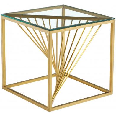 Table d'appoint design en acier inoxydable poli doré et plateau en verre trempé transparent L. 55 x P. 55 x H. 55 cm collection BOLZANO
