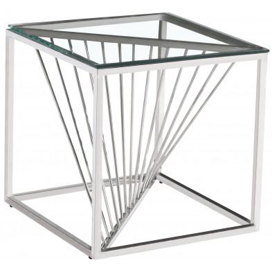 Table d'appoint design en acier inoxydable poli argenté et plateau en verre trempé transparent L. 55 x P. 55 x H. 55 cm collection BOLZANO