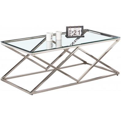Table basse design en acier inoxydable poli argenté et plateau en verre trempé transparent  L. 120 x P. 60 x H. 45 cm collection ROMA